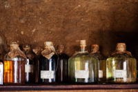 old potion bottles on a dark background